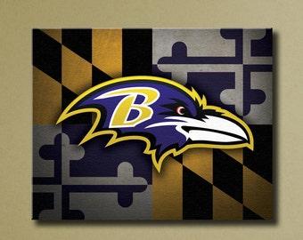 "Baltimore Ravens Canvas Art, 16""x20"" Stretched Canvas Maryland Flag Design"