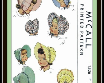 McCall 1526 Vintage BABY Childs GIRLS Bonnet SUNBONNET Hat 1950's Fabric Sewing Pattern