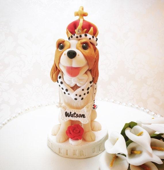 ... King Charles Dog Cake Topper, Cavalier in King Costume, Birthday Cake