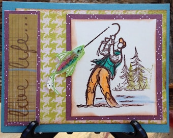 Handmade fishing card- sports- fish- all occasion card- outdoor card- male-live life