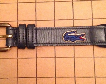 Vintage 1980s Navy Blue Izod Lacoste Belt
