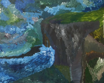 Original Cliff View Acrylic Painting