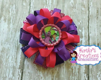 Kate and Mim Mim Hair Bows,Mim Mim and Kate Hair bows,Pink and Purple Kate and Mim Mim Hair Bows. Disney Junior Kate and Mim Mim Hair bows.