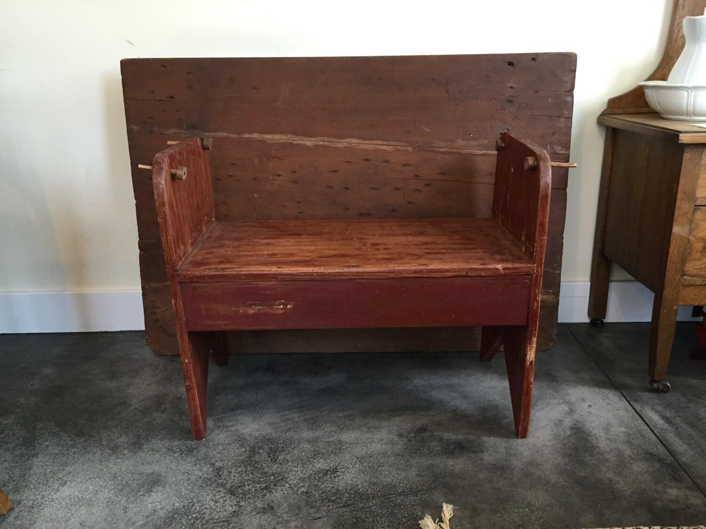Antique Bench And Tilt Table Primitive Tilt Table And Bench