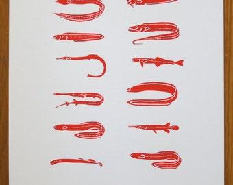 Fear Fish | fish screenprint, fish art, fishing, fish anatomy, fisherman, natural history, sea art, ocean art, scary art, gifts for dad