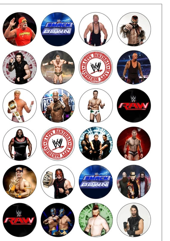 24 Precut 40mm Circle WWE Wrestling Raw Smackdown Edible Wafer