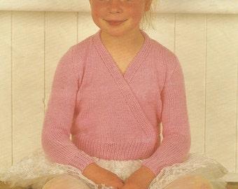 Knitting Pattern Ballet Cardigan Top DK 56-76 cm PDF Instant Download