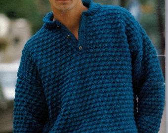V- neck knitted sweater pattern, for men, vintage 1080s knitting pattern, sweater pattern, knitted pullover sweater pattern