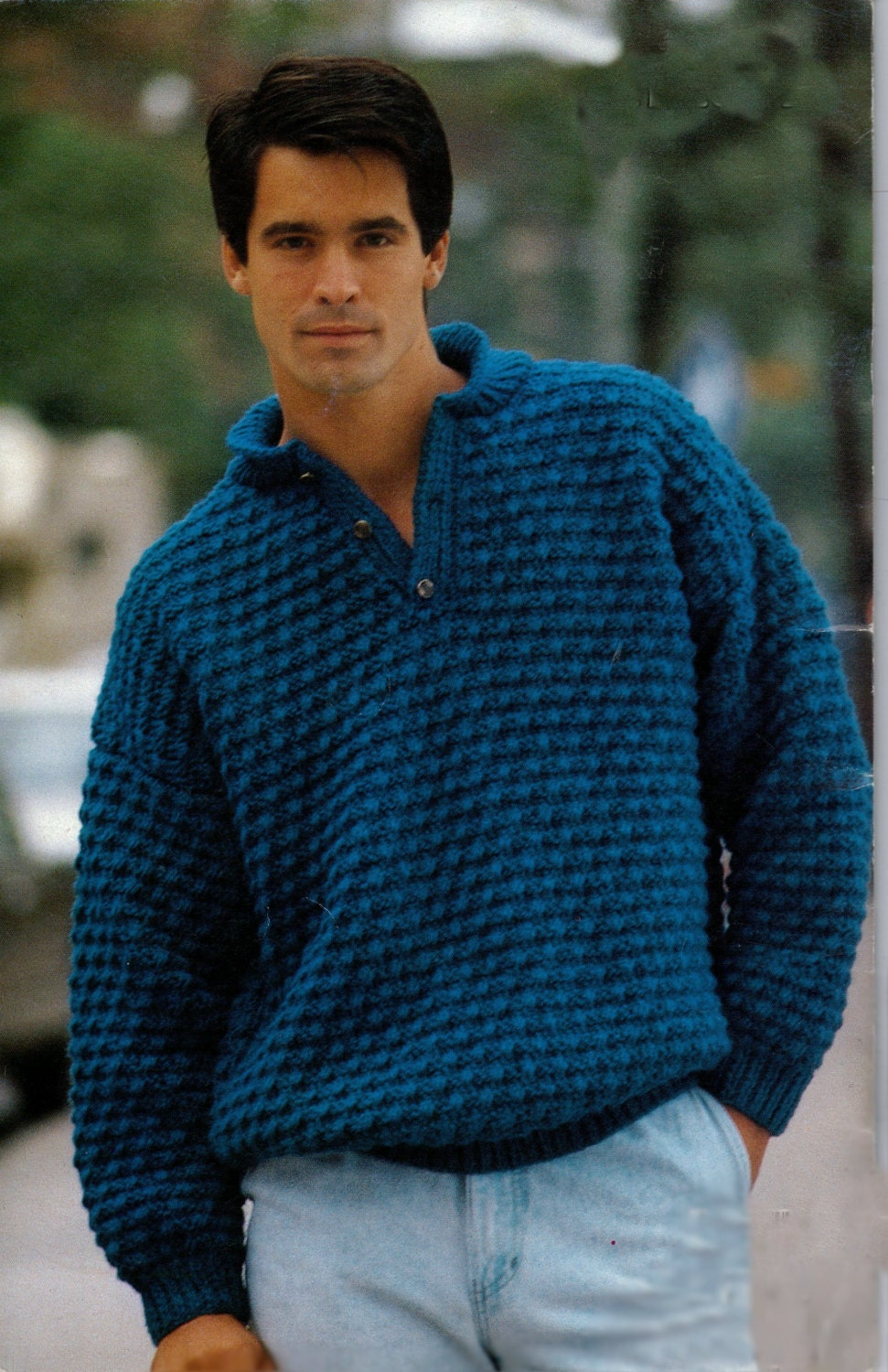 V Neck Knitting Pattern : V neck knitted sweater pattern for men vintage 1080s