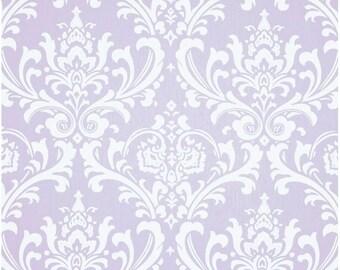1/2 Yard Light Purple and White Damask Fabric - Premier Prints Wisteria and White Twill Ozbourne Damask Fabric HALF YARD ozborne osbourne