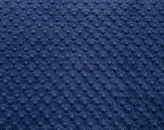 Standard or Fat HALF Yard Navy Shannon Fabrics Dot Minky Fabric - Shannon Fabrics Cuddle Dimple Minky HALF YARD dark blue