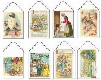 Vintage Nursery Rhyme Gift Tags - printable template 2 pages, 16 images, instant digital download