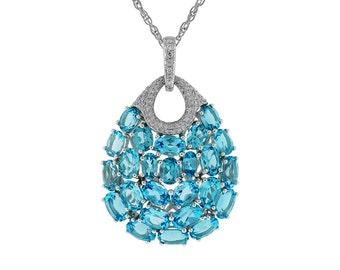 White Diamond & Blue Topaz Pendant in 14K White Gold