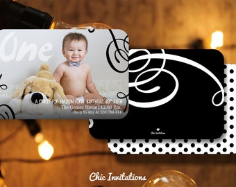 50 First Birthday Invitations Boy Black & With 50 pk