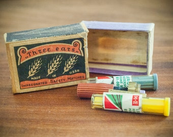 Three Ears Matches, USSR Matches, Impregnated Safety Matches, Antique Matchbox, Safety Matches, Matches USSR, Vintage Safety Matches