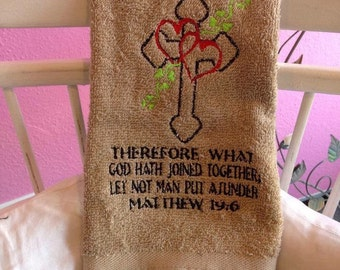 Mathew 19:6 custom hand towel. Perfect gift for the newlyweds.