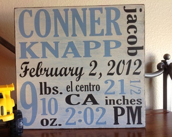 Birth announcement wall art, Custom baby gift, Hand painted wood sign, Baby Wood Sign, Baby Stats, New mom gift