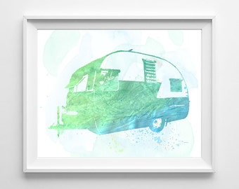 Shasta Recreational Vehicle RV trailer watercolor Ink ART PRINT travel urban chic wall home decor man cave gift for him, All Sizes