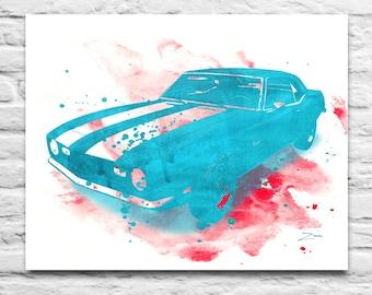 1968 Chevrolet Camaro classic car inspired watercolor ink Art Printable DIGITAL DOWNLOAD You Print, Diy, Christmas Fathers, 8x10 11x14