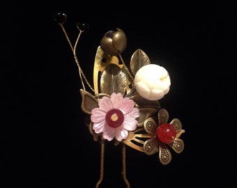 Bronze Hair Pin with Pink/Bronze Flowers