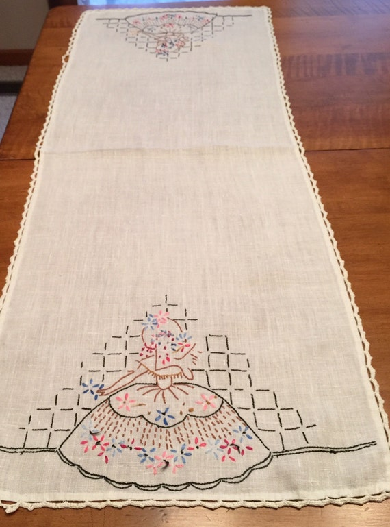 Vintage hand embroidered dresser scarf or table runner with