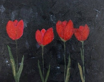 """8x10"""" Red Tulips on Black Canvas"""
