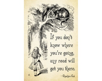 Alice in Wonderland Digital Download - If you don't know where you're going, any road will get you there.. Cheshire Cat Printable Art Poster