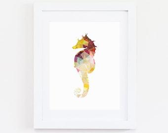 Seahorse Art, Instant Download, Digital Prints, Seahorse Print, Geometric Art, Nautical Decor, Geometric Print, Nautical Print, Yellow Decor