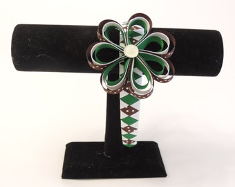 Girl Scout Green, Brown and White Woven Ribbon Headband With Attached Flower