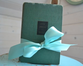 Blue & Green Decorative books, wedding decor, Old Books, Vintage Book home decor, Photo Prop
