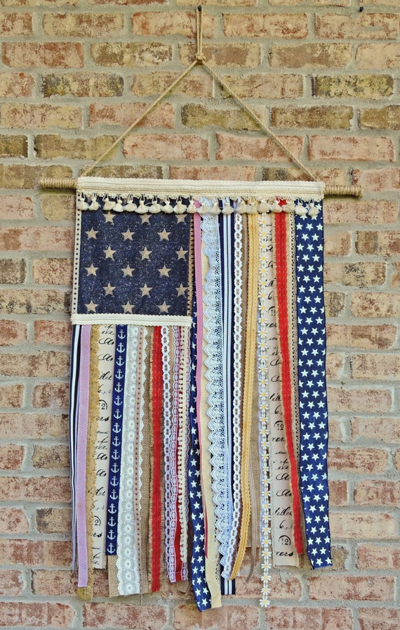 Wall Decorations With Ribbon : Items similar to american ribbon wall art flag on etsy