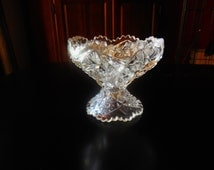 COMPOTE, CANDY DISH, Vintage Crystal, Pinwheel/Starburst Pattern, Sawtooth rim and pedestal , Deep cut crystal