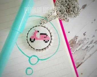 Pink Vespa Cross Stitch Necklace, Embroidered Necklace, Cross Stitch Jewelry, xstitch necklace, Pendant Necklace
