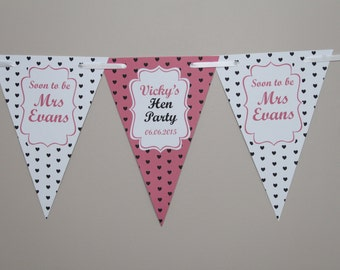 Personalised Hen Party Bunting  Banner Decoration Shabby Chic Bride to be Soon to be Mrs