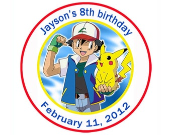 Digital File - Pokemon Round Personalized Birthday Sticker Labels