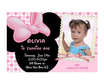 Minnie Mouse First Birthday Invitations - Printable Digital File