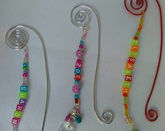 Personalized wire beaded bookmarks