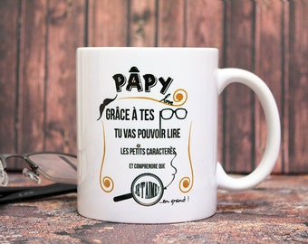 """Mug """"Poppa love"""". Customizable Cup. Gift for Grandpa to customize. Text and graphics by Piou creations. Made in France"""