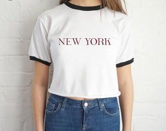 New York Crop Ringer Top Shirt Tee Cropped Fashion Blogger Slogan Newyork City