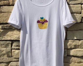 T-shirt in stretch cotton hand painted.