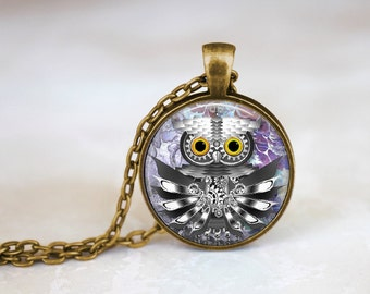 Silver Owl - Steampunk Handmade Pendant Necklace