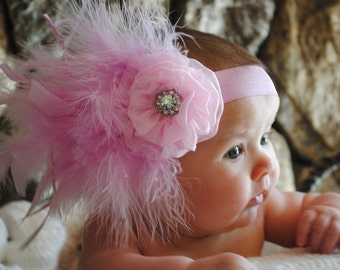 Baby Headband, Feather Headband, Newborn prop headband, Glamour Headband, Handmade headband, Toddler Headband, Pink Headband