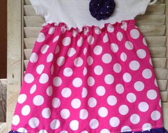 Hot Pink with White Polka Dot & Purple with White Polka dot Onesie Dress and Headband Set