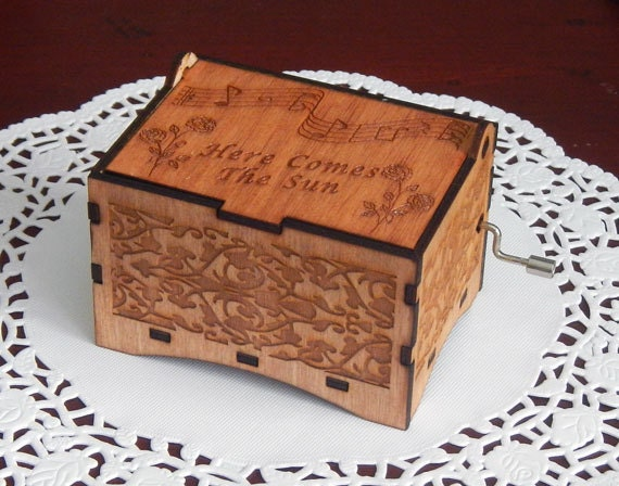 "Jewelry Music Box,  ""Here Comes The Sun"" by the Beatles, Laser Engraved Wooden Interlocking Hand Crank Storage Music Box"