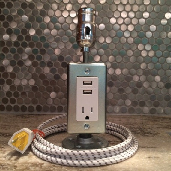 Industrial Style Lamp With Usb Power Charging Station