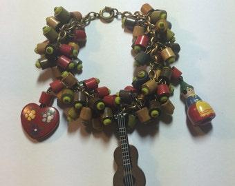 Wooden Multi Bead Charm Bracelet