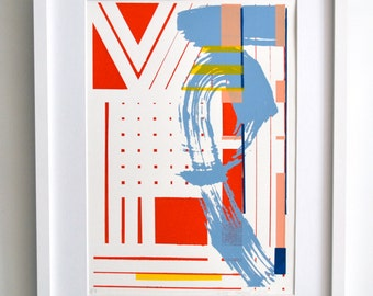 Screen print No125.Geometric print, Wall art print, 5 colours, Abstract art, Bauhaus, Original print, Printmaking, Minimalist