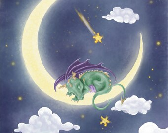 Baby Dragon Sleeping on the Moon Ditial Art Print