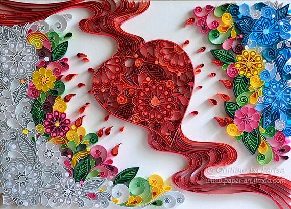 Quilling Quilling wall art Quilling art Quilling paper art Heart Quilling heart Love Works Wonders Handmade Gift Framed Decor