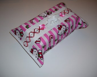 CHRISTMAS TISSUE BOX cover, hello kitty pattern, with a red corset.